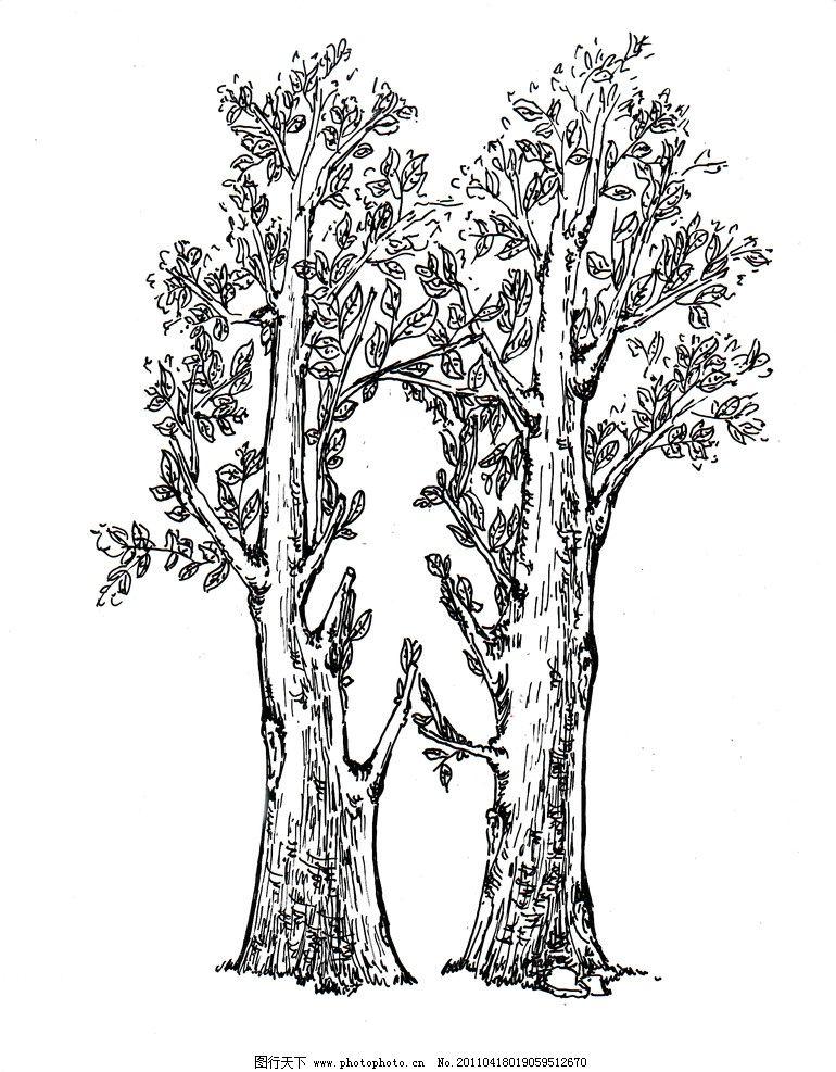 图形创意 树木 树枝 绘画书法