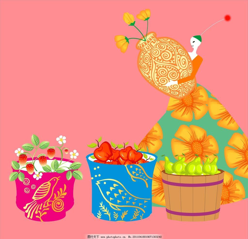 普罗旺斯小仙子 装饰画 无框画 卡通 插图 插画 儿童画 裙子 花朵