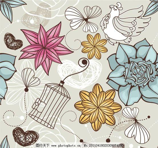 手绘花朵花卉矢量素材