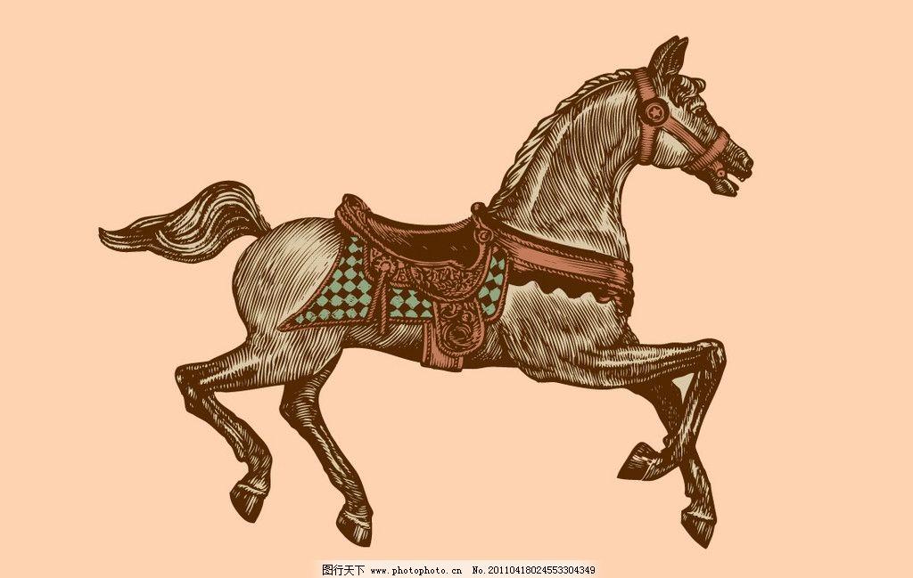 手绘马 马 手绘 宝马 素描 动物 线描 古典色彩 马鞍 家禽家畜 生物