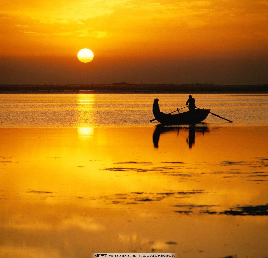 夕阳 渔船 湖水 湖面 沙滩 船浆 美景 自然风景 自然景观 摄影