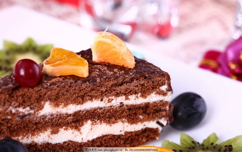 蛋糕 果味蛋糕 巧克力蛋糕 樱桃 桔子 橙子 柠檬 葡萄 水果拼盘