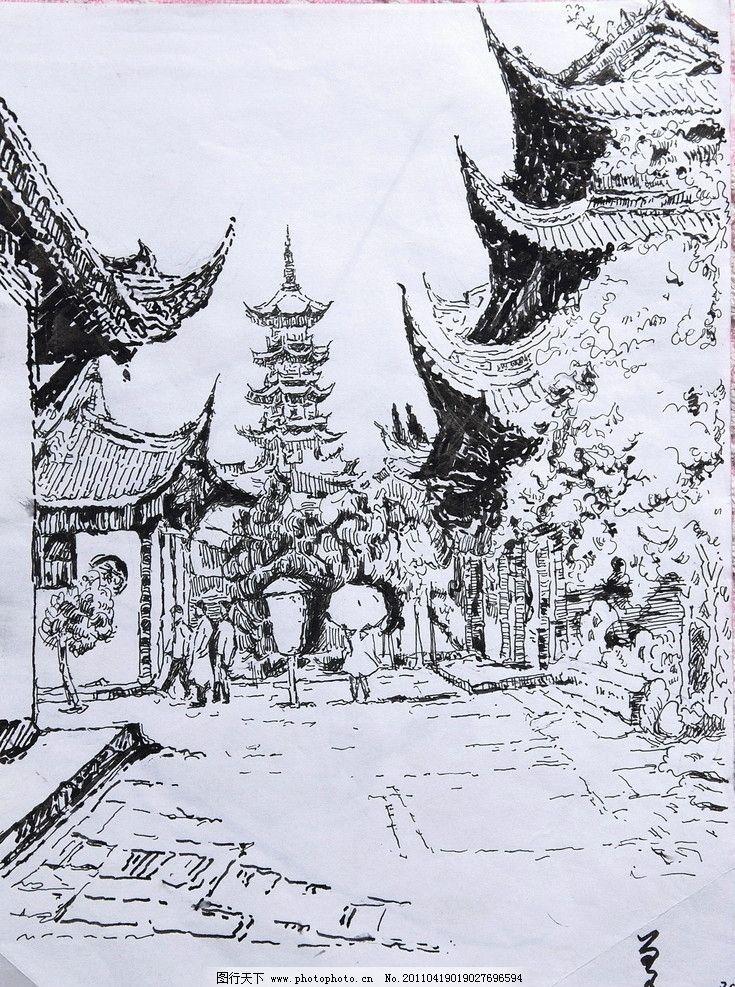 钢笔画 古塔 古代建筑 宝塔 风光 街景 亭台楼阁 园林建筑 高清 大幅