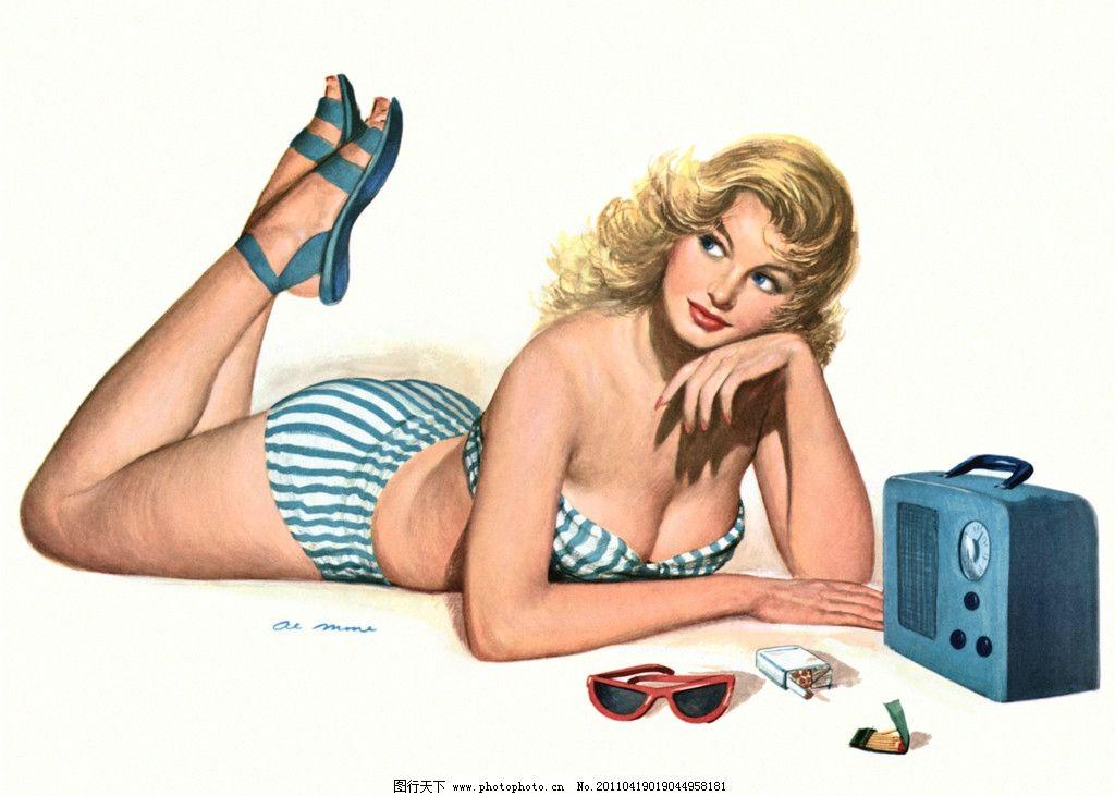 美女 手绘 70年代