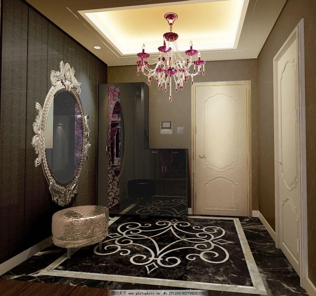欧式室内效果图 水晶灯 地毯 镜子 室内设计 环境设计 设计 300dpi jp