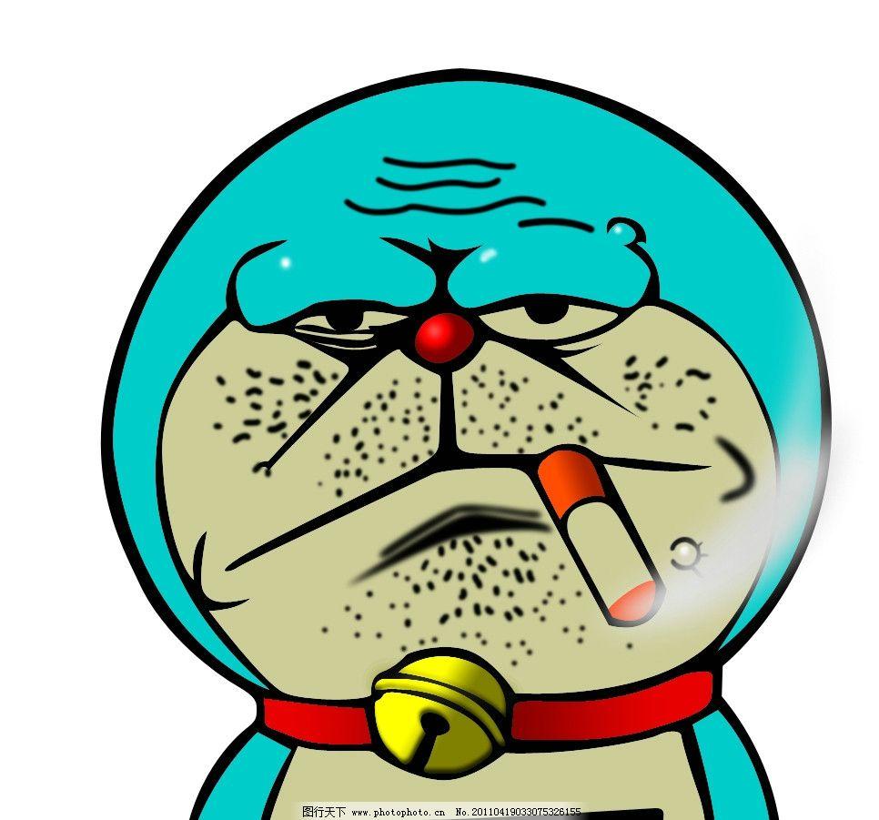 哆啦a梦 叮当猫 吸烟 抽烟 可爱 搞笑 psd分层素材 源文件 300dpi psd