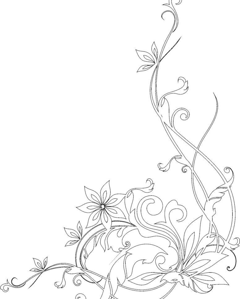 手绘藤蔓花纹图