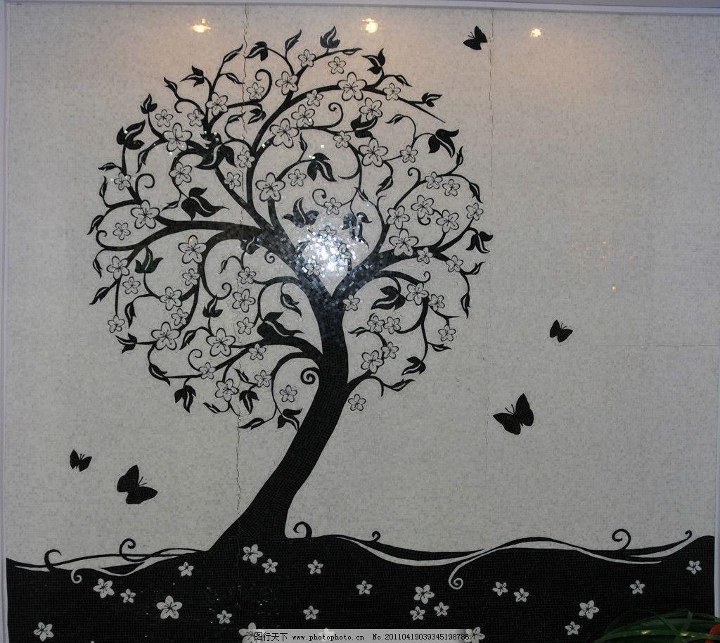 马赛克拼花 室内摄影 马赛克 拼花 树 瓷砖 蝴蝶 背景墙 墙面 花 建筑