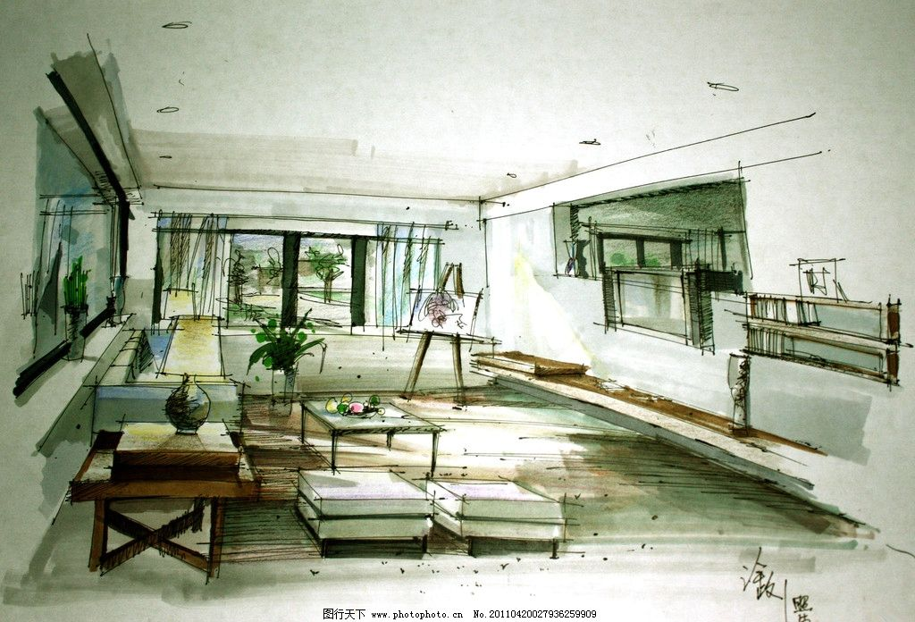 效果图 厨房 卧室 家具 家居 线稿 钢笔线稿 桌子 椅子 客厅 室内设计
