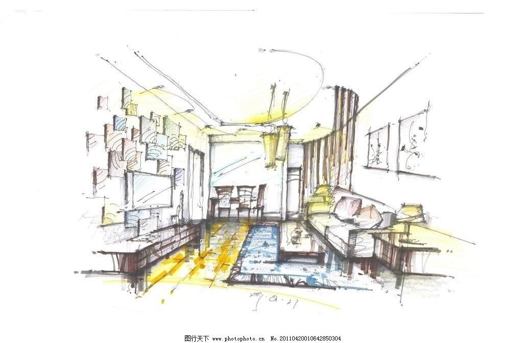 景观手绘                  家具 家居 线稿 钢笔线稿 桌子 椅子 床铺