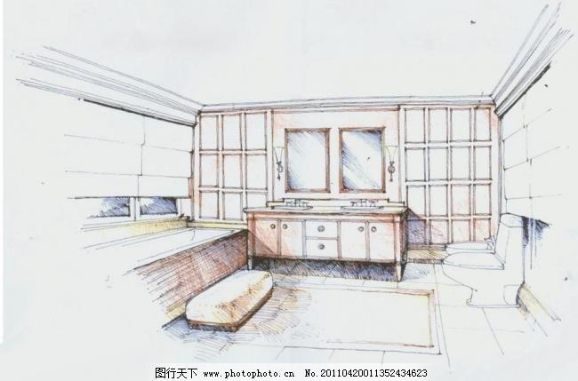 景观手绘 效果图 厨房 卧室 家具 家居 线稿 钢笔线稿 桌子柜子 环境