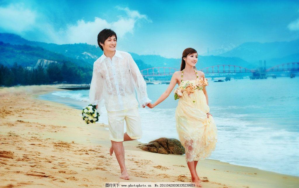 婚纱照 海景 蓝天白云