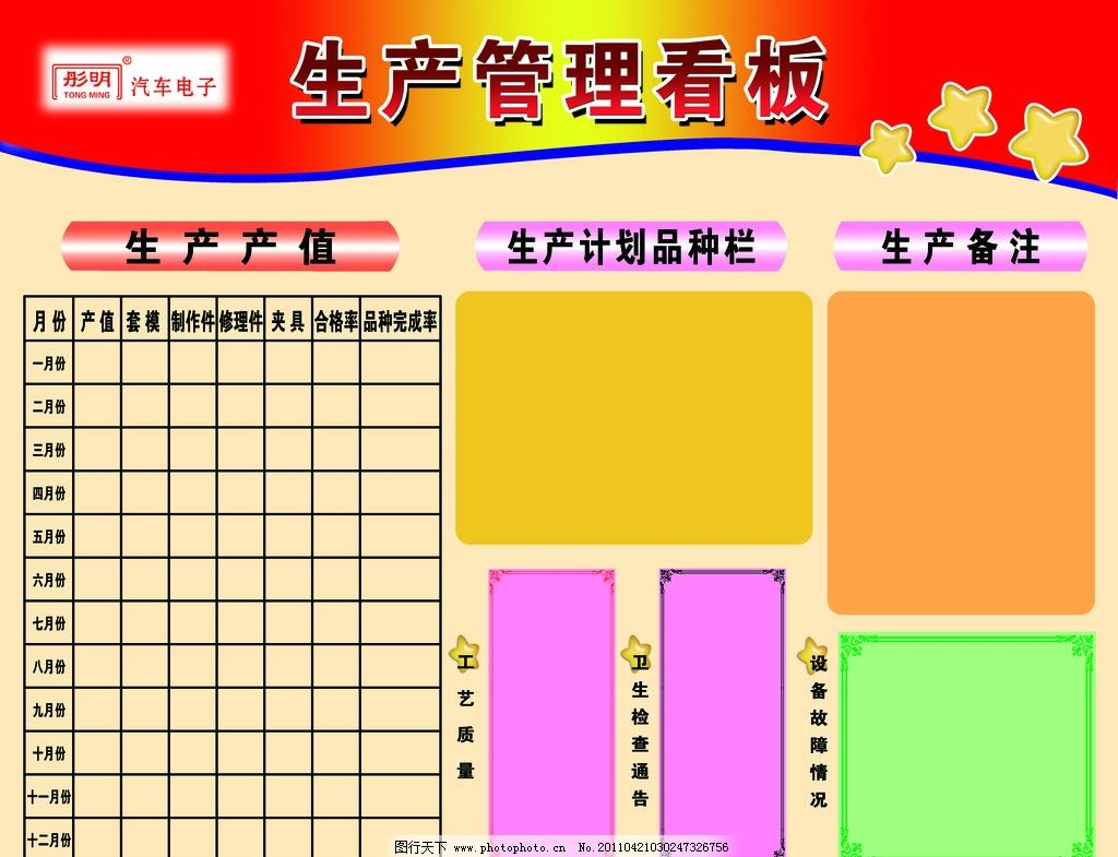 生产管理看板 彤明 展板 展板模板 广告设计模板 源文件