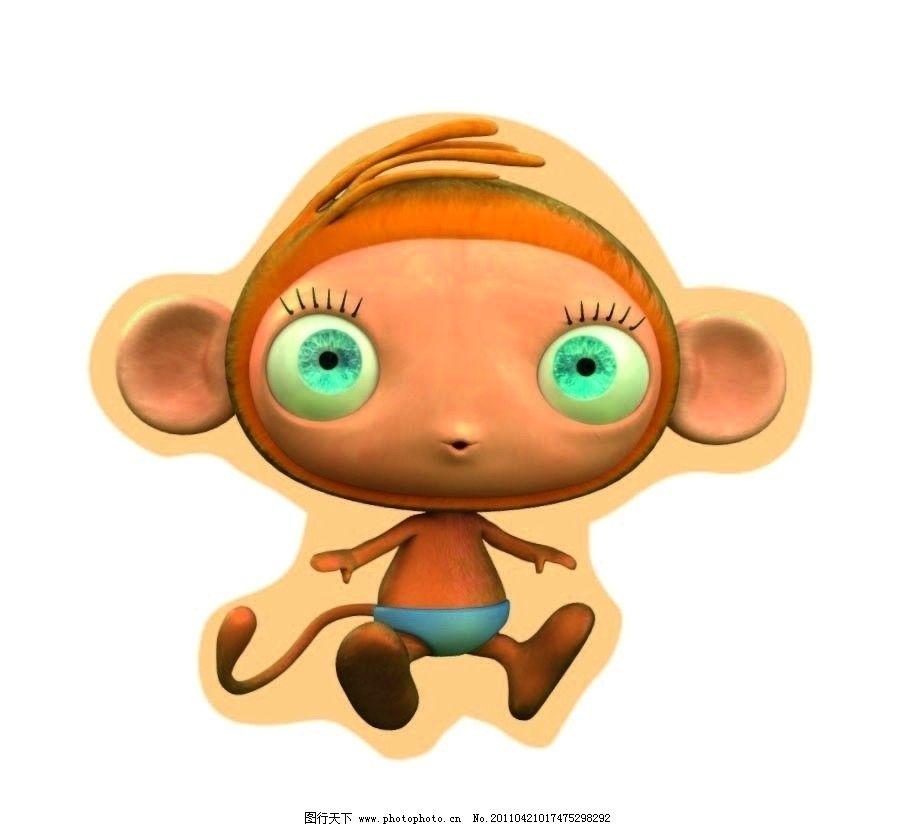 动画猴子 小猴子 其他生物 生物世界 矢量 ai