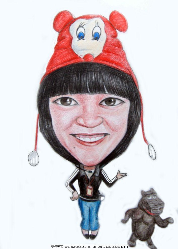 人物插画 彩铅画 帽子 漫画人物 河马 动漫人物 动漫动画 设计 350dpi