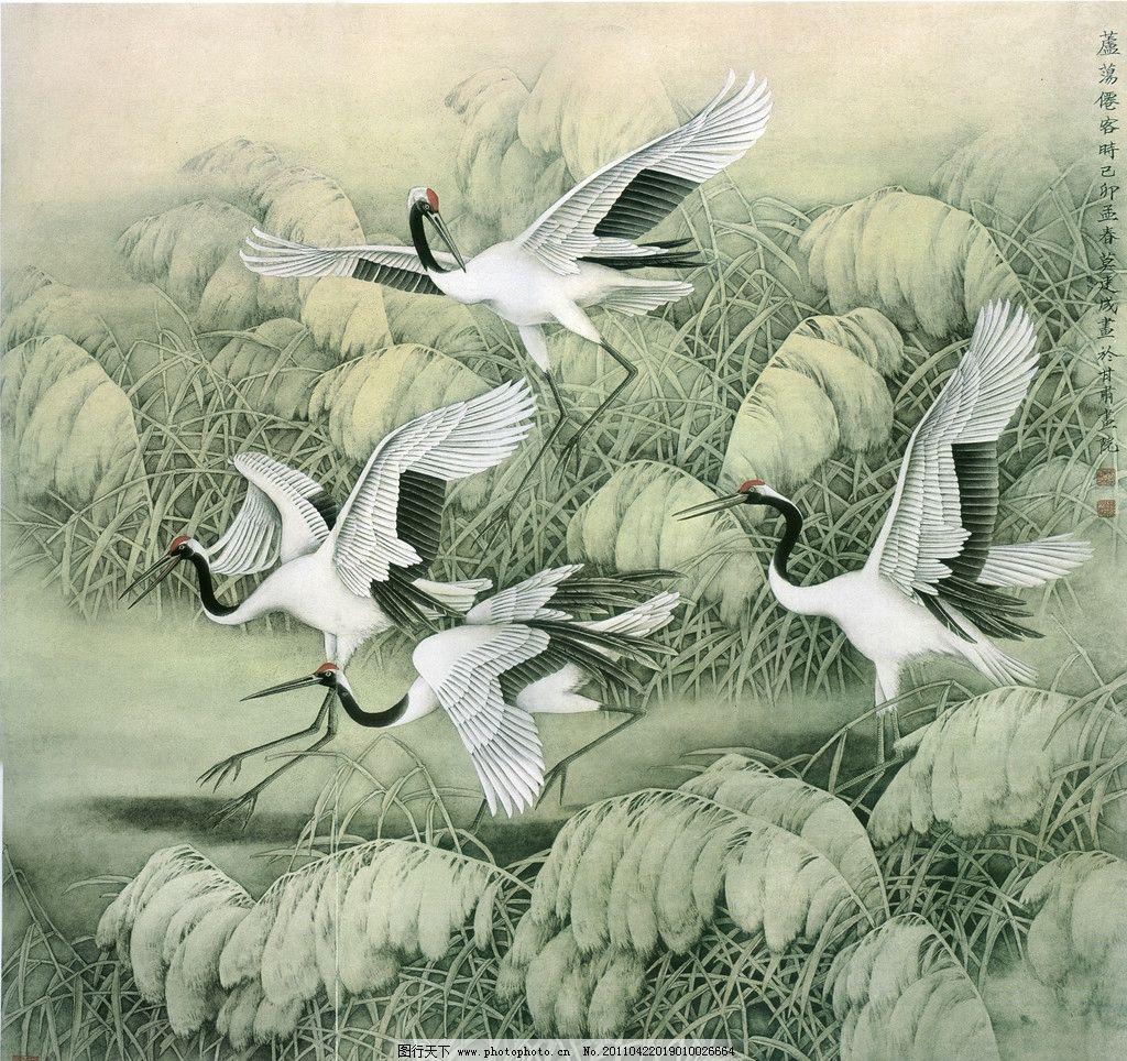 芦荡仙客 芦荡 仙鹤 芦苇 莫建成工笔仙鹤图 绘画书法 文化艺术 设计