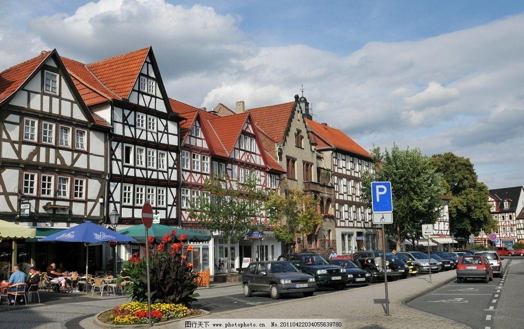 德国美景 风景 欧洲风景 欧洲小镇 德国建筑 白云 蓝天 红房子图片