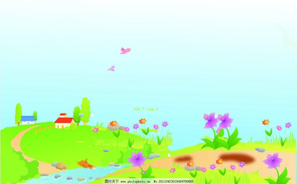 河边风景漫画 花草 房子 小河 绿色背景 风景漫画 动漫动画 设计 50图片