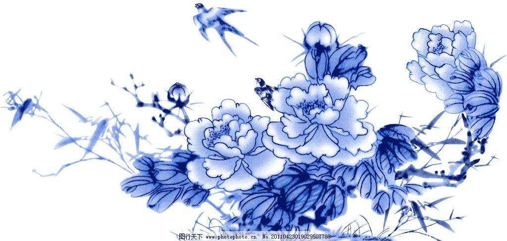 兰彩 牡丹 小鸟 青花 绘画书法 文化艺术 设计 300dpi jpg