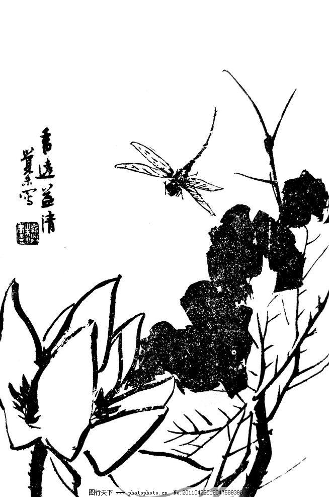 荷花 国画 莲花 莲叶 荷叶 蜻蜓 野草 文字 白描 绘画 绘画书法