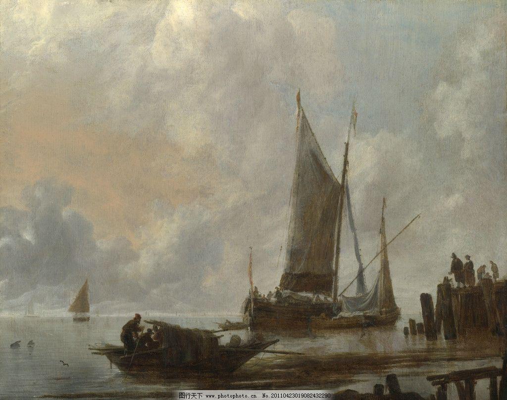 欧洲油画 帆船 船舶 海面 油画 风景油画 欧式油画 珍藏 壁画 精品 装