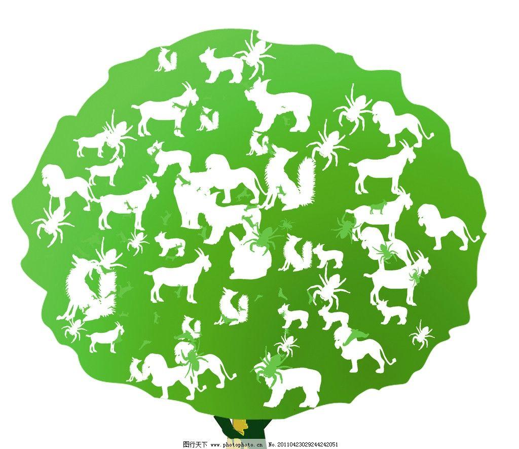 图形创意 树 动物 绿色