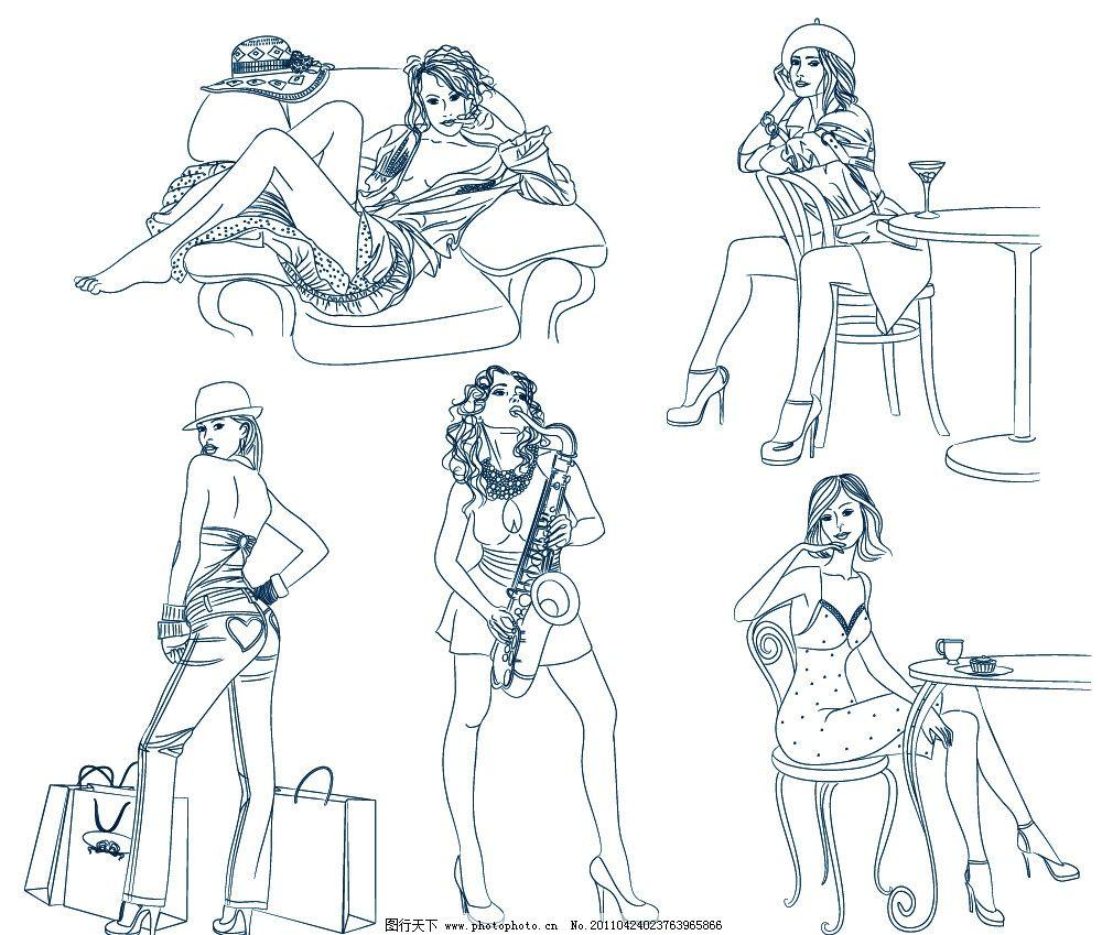 素描美女 钢笔画美女 线描 草图 服装 时尚美女 漂亮美女 模特 时尚