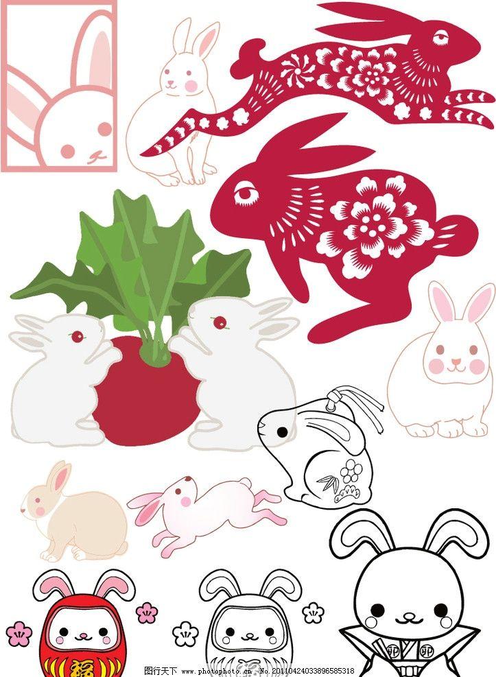 可爱呆萌兔子素描