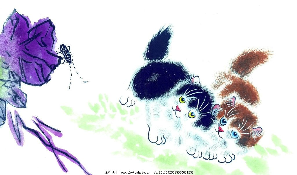 国画天牛与猫咪 天牛 国画 水墨 猫咪 国画作品 绘画书法 文化艺术