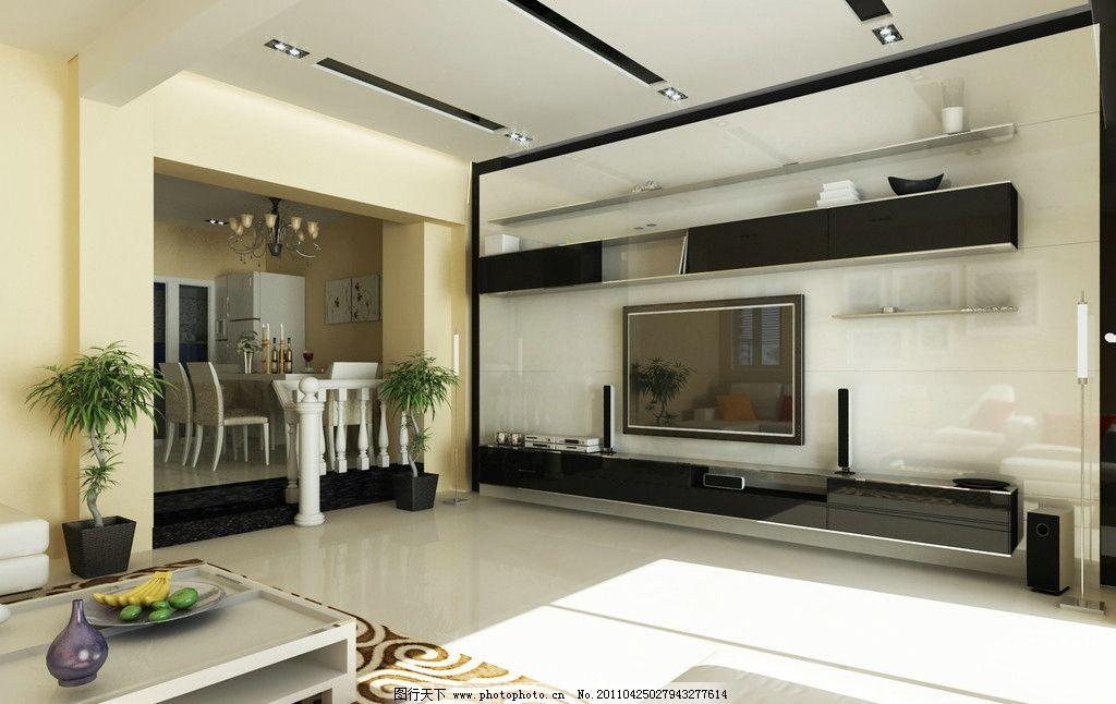 别墅客厅 室内      餐厅 电视背景墙 吊顶 新隆别墅简装 室内设计 环