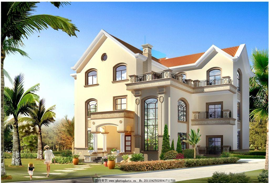别墅外观 欧式线条 墙漆 住房 建筑 城市与别墅之间 建筑设计 环境