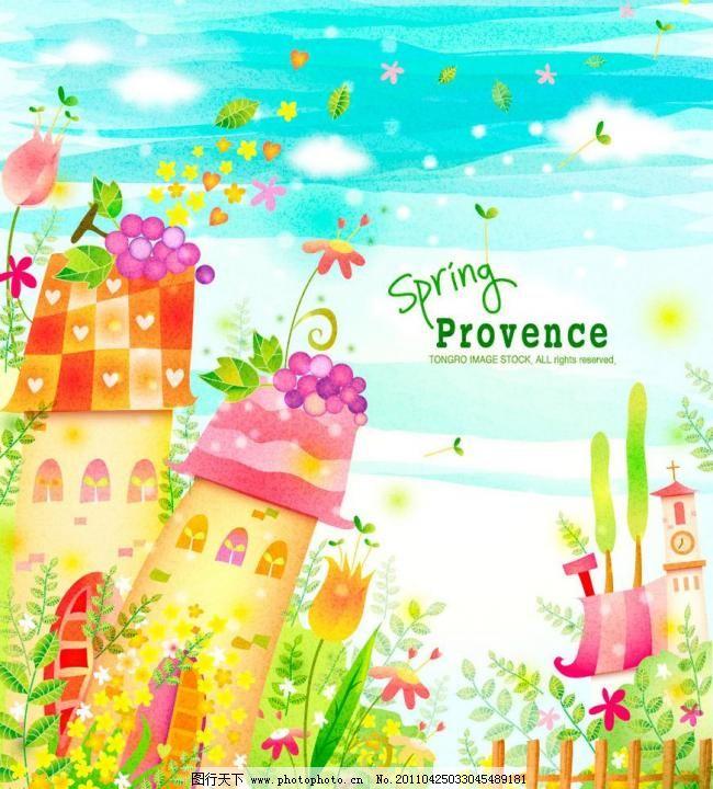 卡通春天 春天梦幻花纹花朵 蓝天白云 城堡古堡 蓝天 白云 绿叶 树木