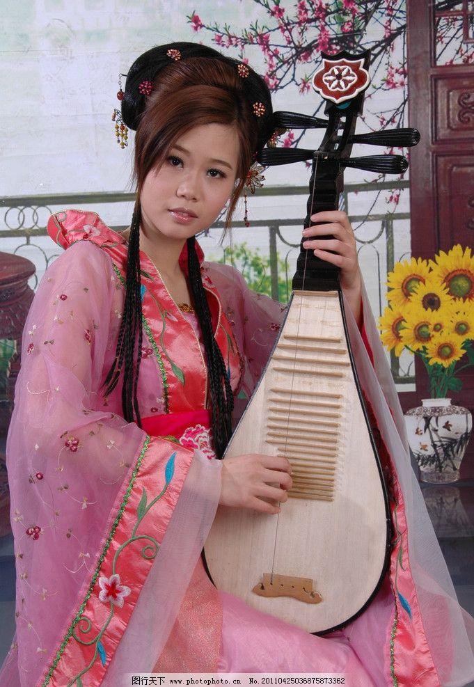 古典美人 古装琵琶美人 红色 女性女人 人物图库 摄影 300dpi jpg