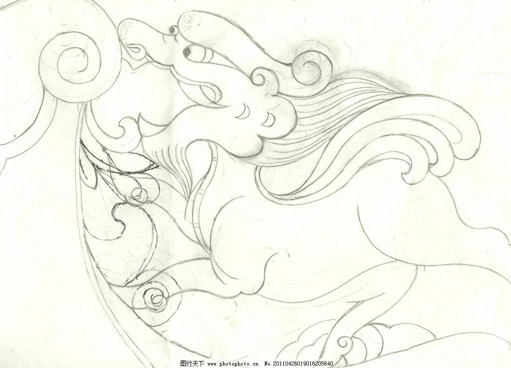 麒麟 瑞兽 绘画书法 文化艺术-手绘建筑 素描 线描 绘画书法