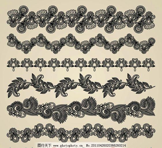 古典花纹花边矢量素材 花纹 花边 角花 对花 二方连续 装饰花 欧式