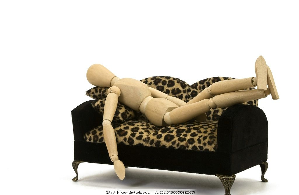 木头人 家庭 沙发 舒服 豹纹沙发 睡觉 木偶 高清 其他人物