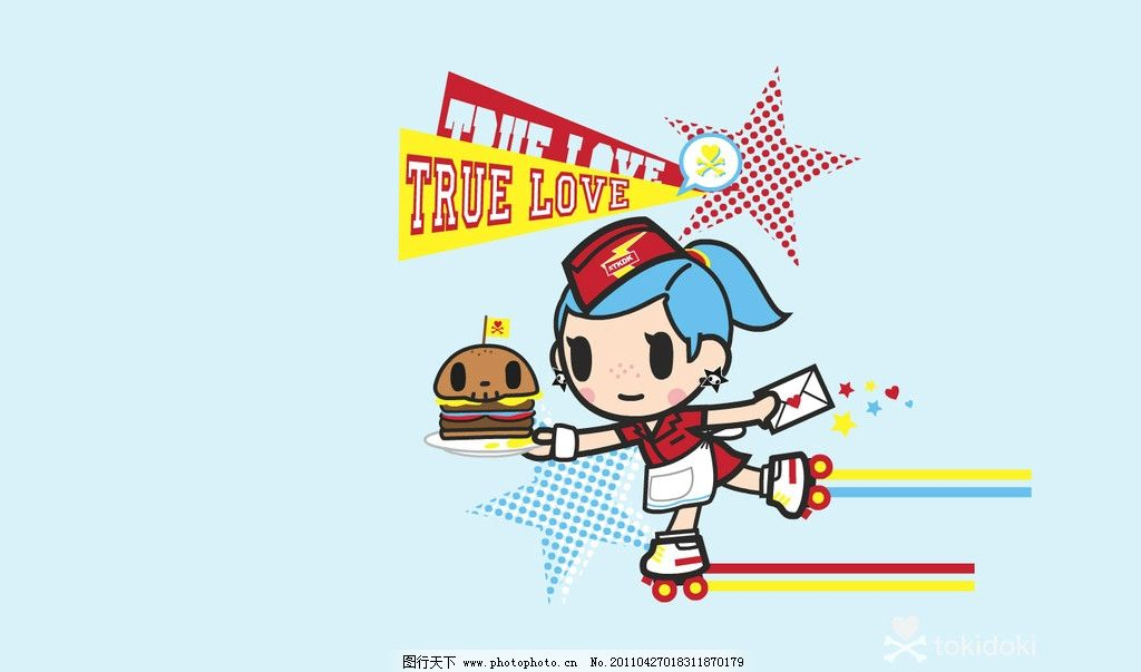 滑板小孩 蓝色壁纸 滑板 小女孩 蓝色 淘奇多奇 tkdk 壁纸 可爱 潮流