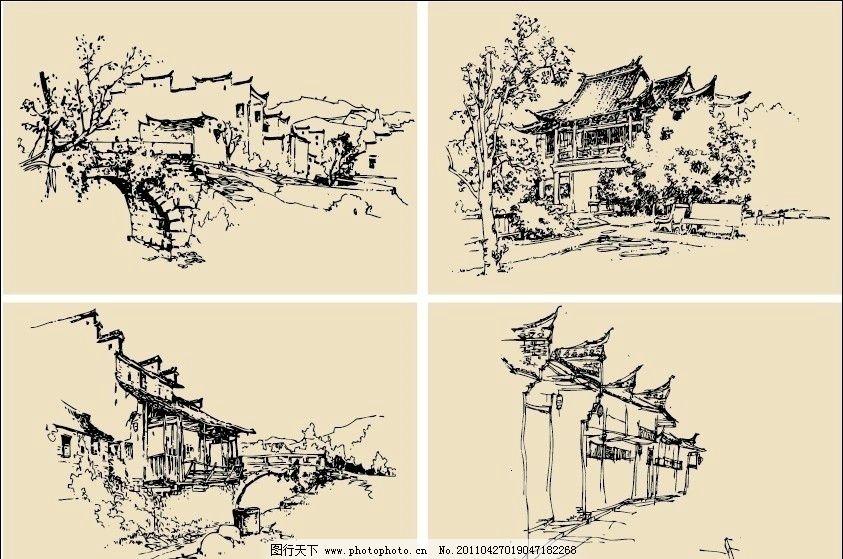 钢笔速写画 钢笔画 素描 手绘 线描 风景 房屋 建筑 马头墙