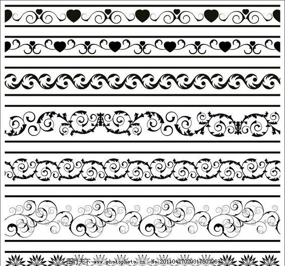 古典花纹花边矢量素材 黑白 角花 对花 二方连续 装饰花 欧式