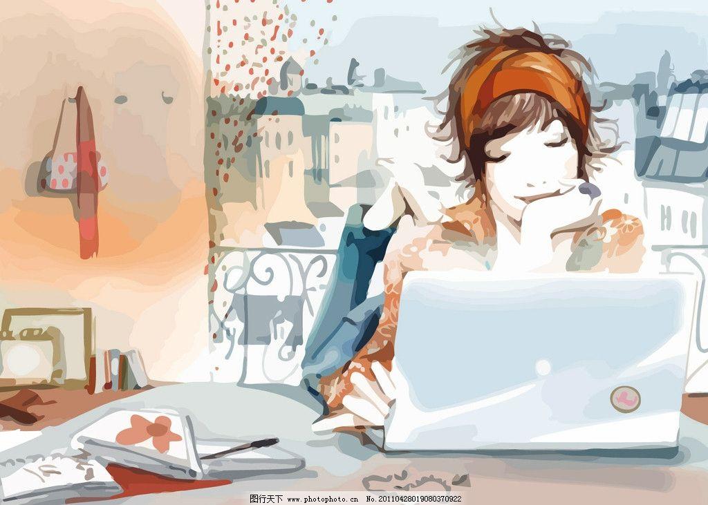 彩色手绘水彩电脑人物图片