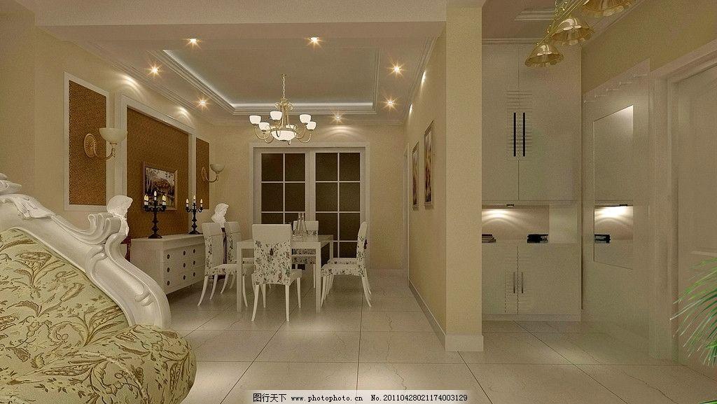 欧式家装设计 客厅 模型 影视墙 门 电视机 沙发 影视柜 饰品