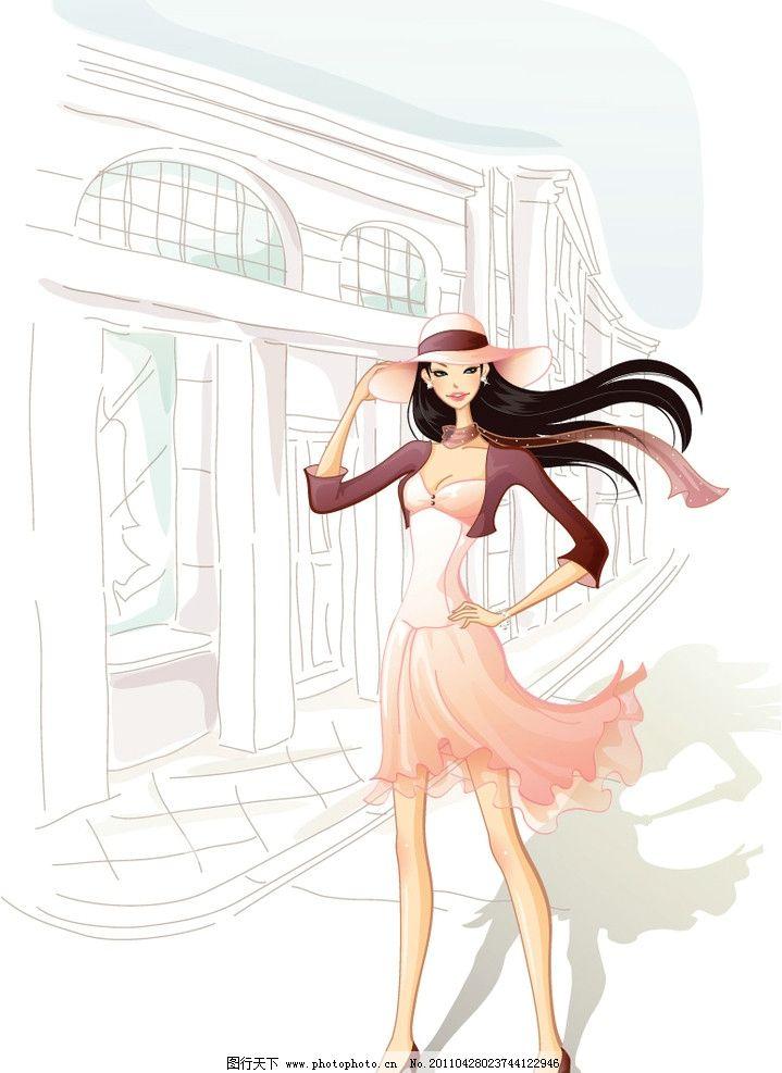 矢量长发女孩图片