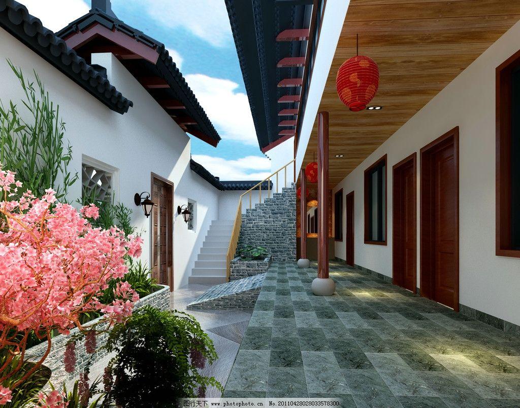 中式庭院 红灯笼 园林 漂亮的花 特色 青石砖 中式飞檐 建筑设计 环境