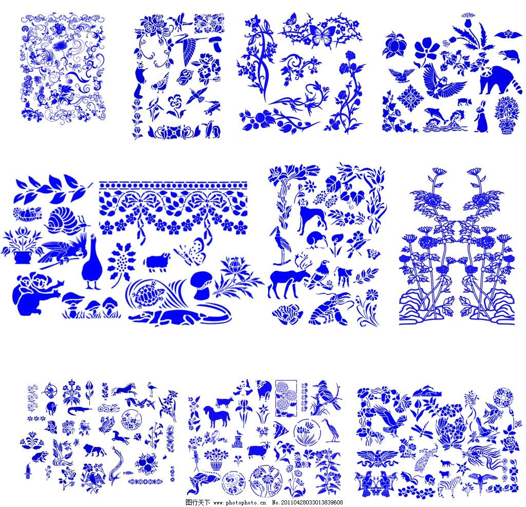 高清晰青花瓷图案 马牛虎 蝴蝶 花瓣 水中动物 源文件