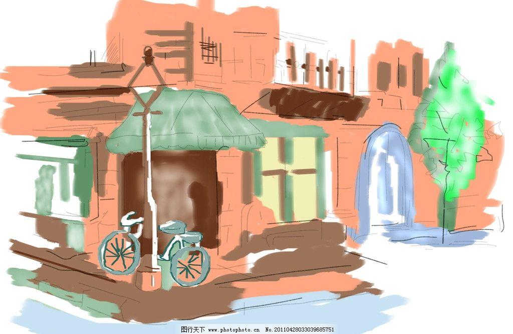 街道 动漫手绘