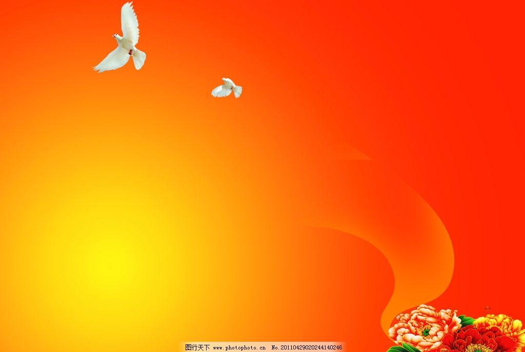 红色素材 红色 背景 和平鸽