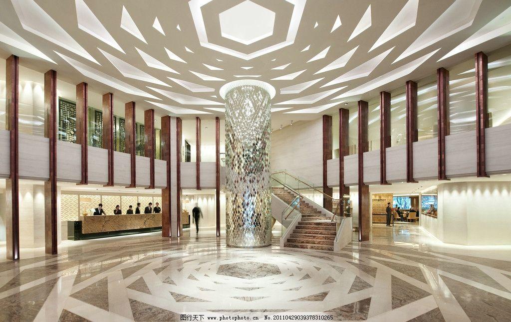 酒店 大堂 中庭 立柱设计 现代中式 室内摄影 建筑园林 摄影 300dpi图片