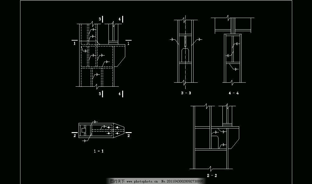 箱形柱的肩梁 cad 图纸 平面图 素材 装修 装饰 施工图 钢结构 网架