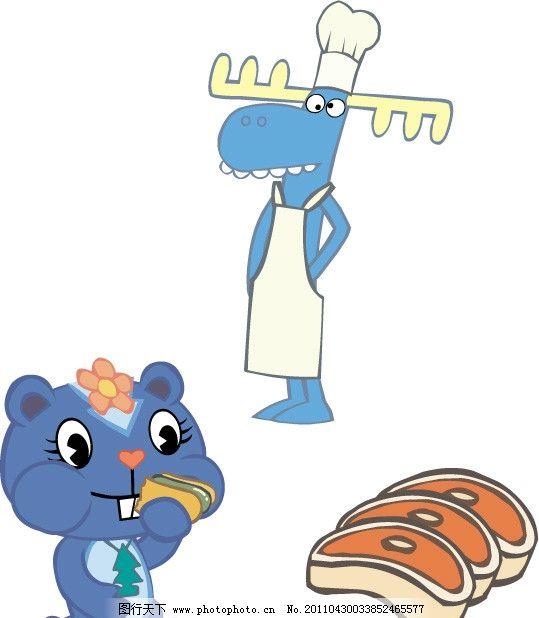卡通小松鼠 卡通 可爱 厨师 肉 鸡肉 食物 零食 矢量素材 其他矢量