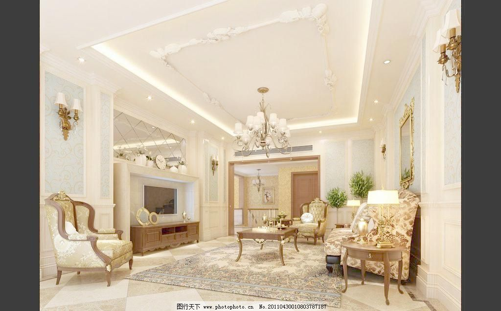 欧式古典客厅设计效果图图片